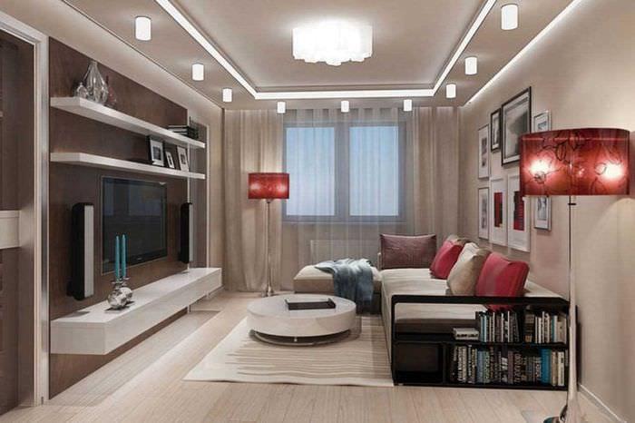 идея красивого стиля спальни гостиной 20 кв.м.