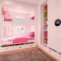 вариант красивого декора спальной комнаты для девочки в современном стиле фото