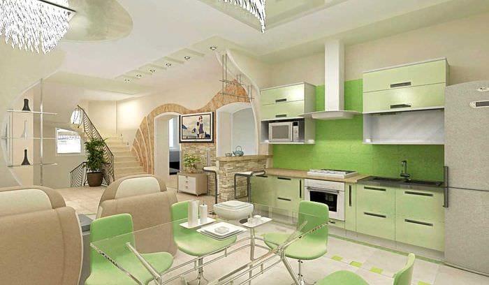 вариант светлого дизайна гостиной в частном доме