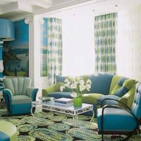 вариант применения интересного голубого цвета в стиле комнаты фото