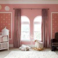 вариант применения розового цвета в красивом дизайне комнате фото