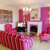 пример использования розового цвета в светлом интерьере квартире фото
