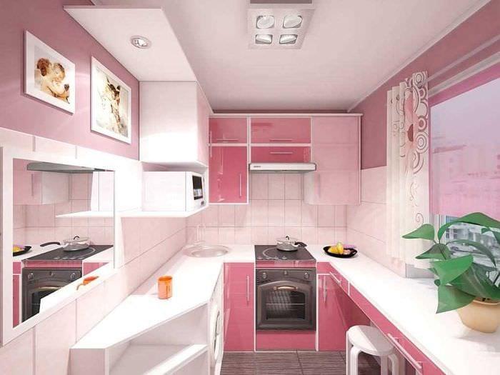 идея применения розового цвета в ярком интерьере квартире