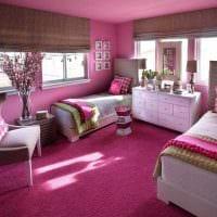 пример использования розового цвета в красивом дизайне квартире фото