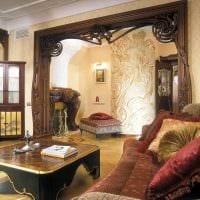 идея использования русского стиля в красивом интерьере комнате фото
