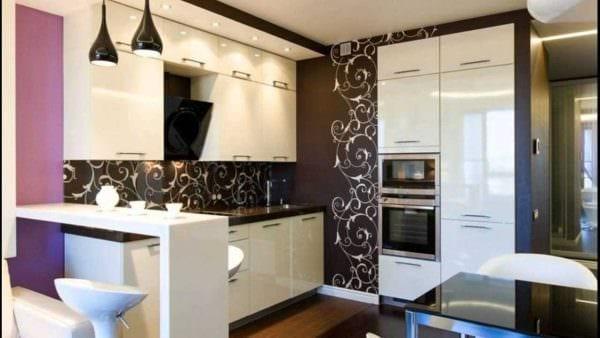 пример применения необычного дизайна кухни картинка