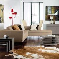 вариант применения необычного бежевого цвета в стиле комнаты