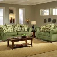 пример применения зеленого цвета в красивом дизайне квартиры картинка