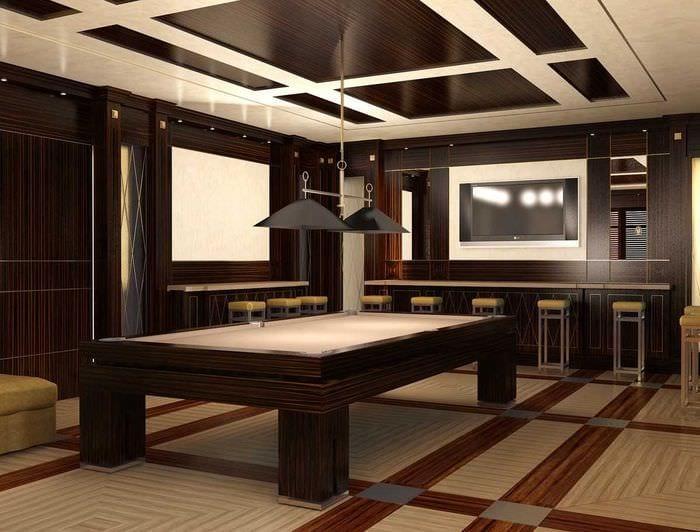 вариант необычного стиля бильярдной комнаты