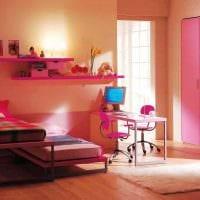 идея необычного стиля детской комнаты для двоих девочек фото