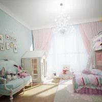 пример светлого дизайна детской комнаты для двоих девочек картинка