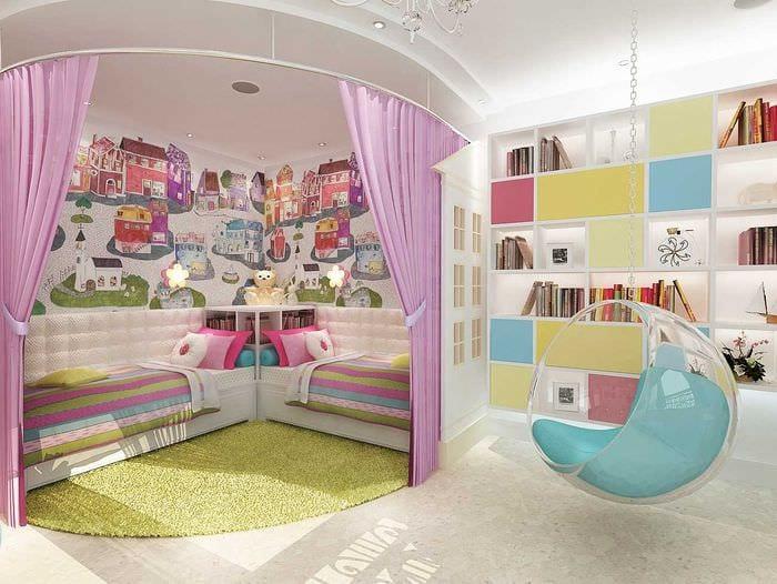 идея красивого стиля детской комнаты для двоих девочек