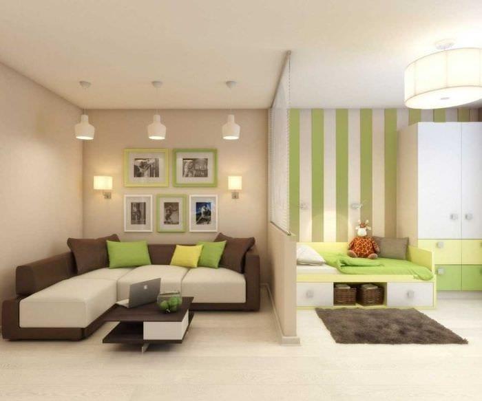 вариант светлого интерьера гостиной спальни 20 кв.м.