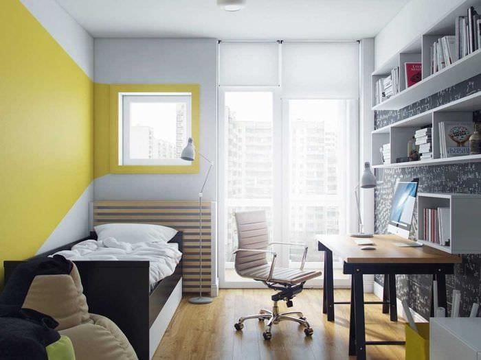 вариант необычного дизайна спальни для молодого человека