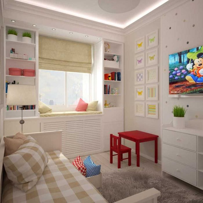 вариант яркого интерьера комнаты для девочки 12 кв.м
