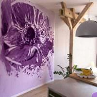 вариант светлого декора дома с росписью стен картинка
