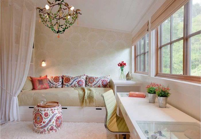 вариант светлого дизайна малогабаритной комнаты