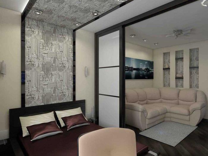 вариант необычного дизайна гостиной спальни 20 кв.м.