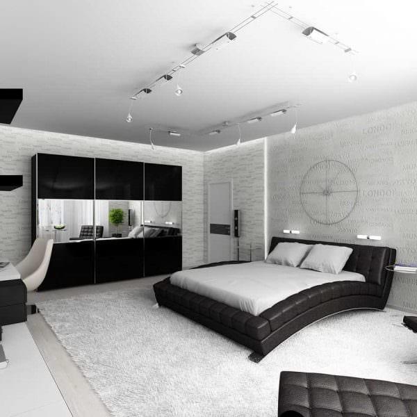 вариант светлого дизайна спальной комнаты для молодого человека картинка