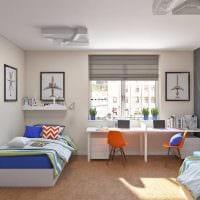идея яркого стиля детской комнаты для двоих детей фото