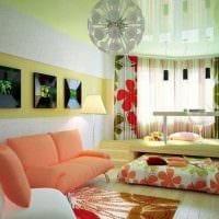 идея светлого дизайна спальни гостиной картинка