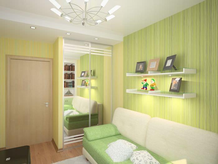 идея яркого декора малогабаритной комнаты