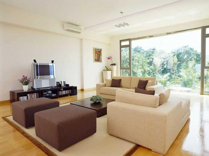 идея светлого декора гостиной в частном доме