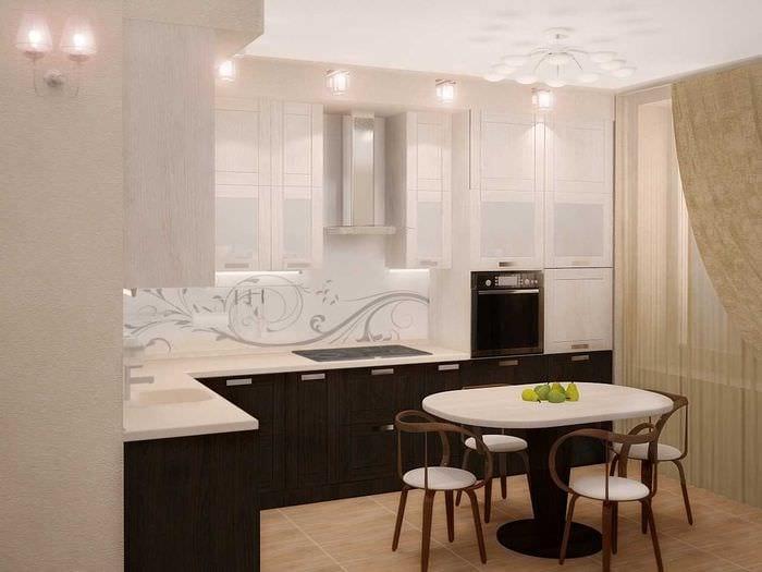 вариант яркого интерьера кухни 9 кв.м