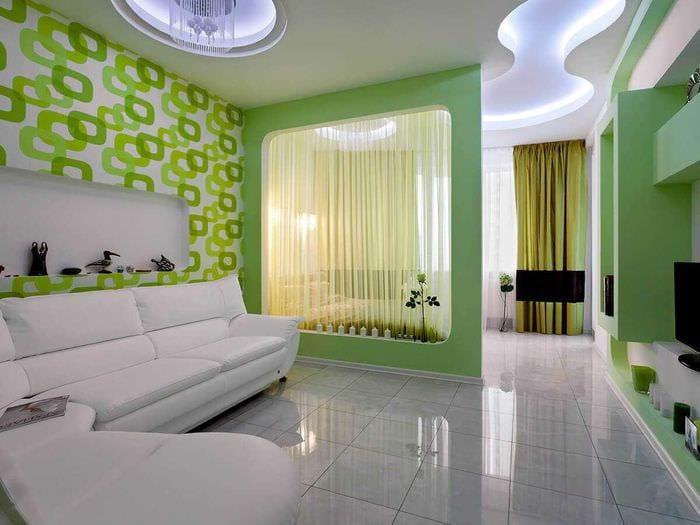вариант яркого дизайна гостиной спальни
