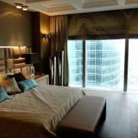 идея необычного стиля спальни с римскими шторами картинка