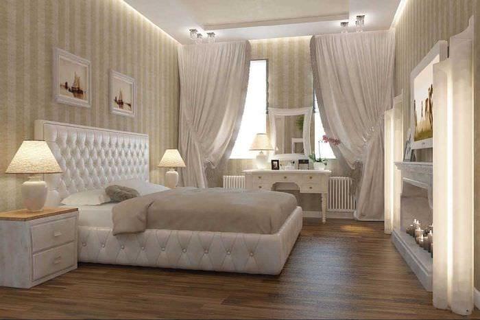идея необычного бежевого цвета в стиле комнаты