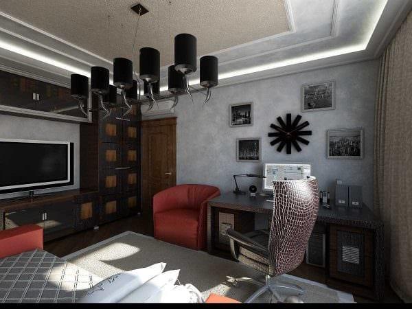 вариант красивого интерьера спальной комнаты для молодого человека фото