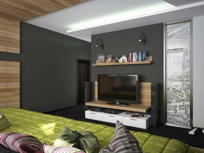 вариант яркого стиля спальной комнаты для молодого человека
