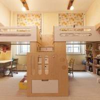 идея красивого дизайна детской комнаты для двоих детей картинка