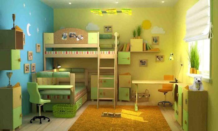 вариант светлого дизайна детской комнаты для двоих девочек