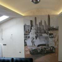 вариант яркого декора квартиры с росписью стен фото