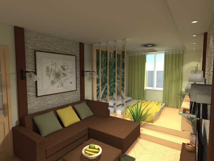 идея необычного дизайна спальни гостиной