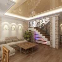 вариант светлого интерьера гостиной в частном доме фото
