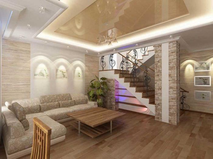 идея красивого интерьера гостиной в частном доме