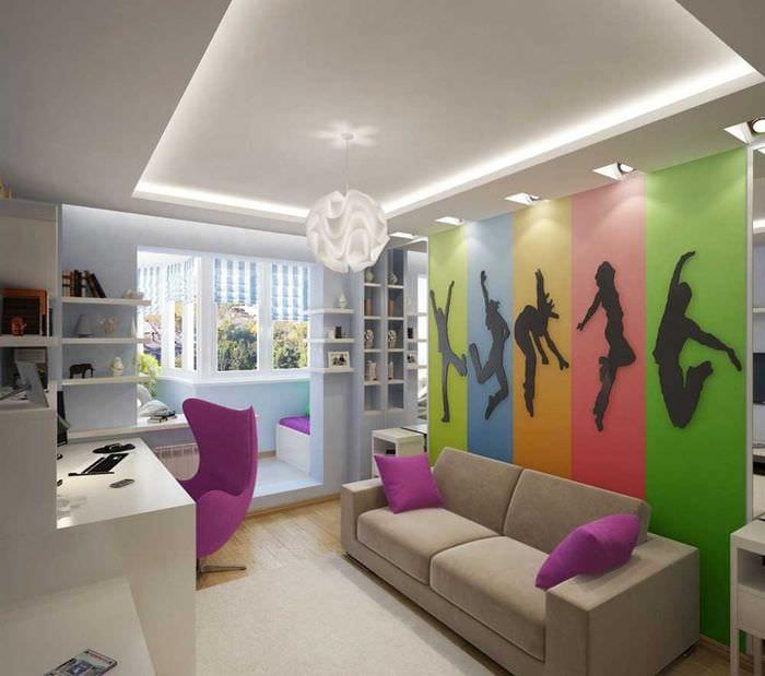 идея светлого стиля детской комнаты для девочки 12 кв.м