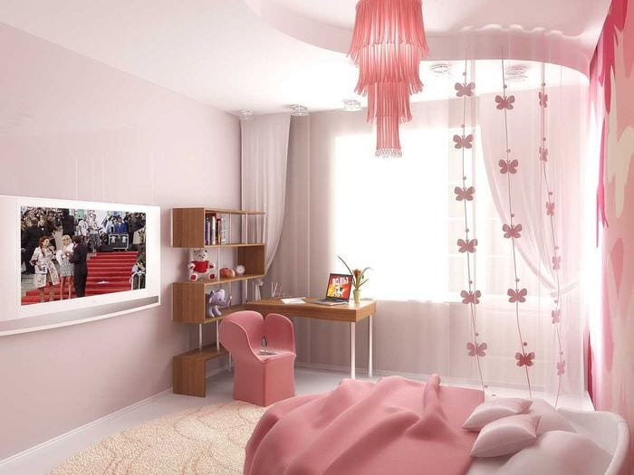 вариант необычного дизайна комнаты для девочки 12 кв.м