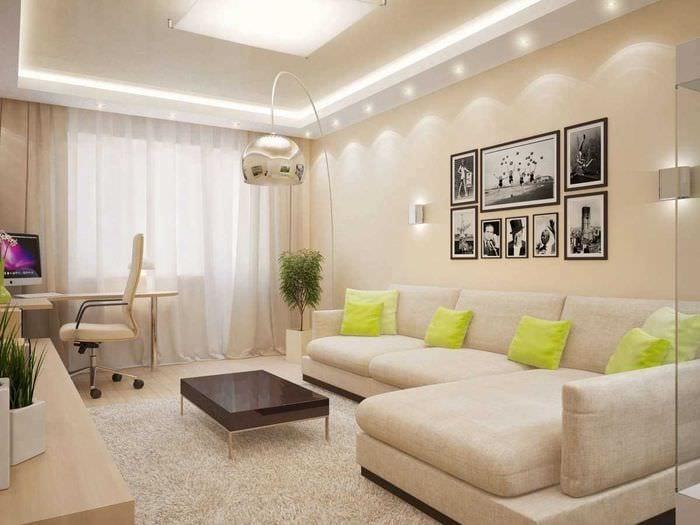 вариант яркого декора гостиной спальни