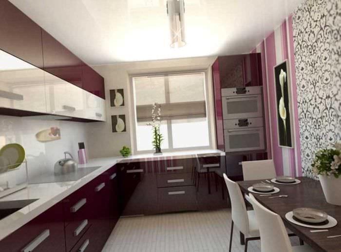 пример яркого дизайна кухни 14 кв.м