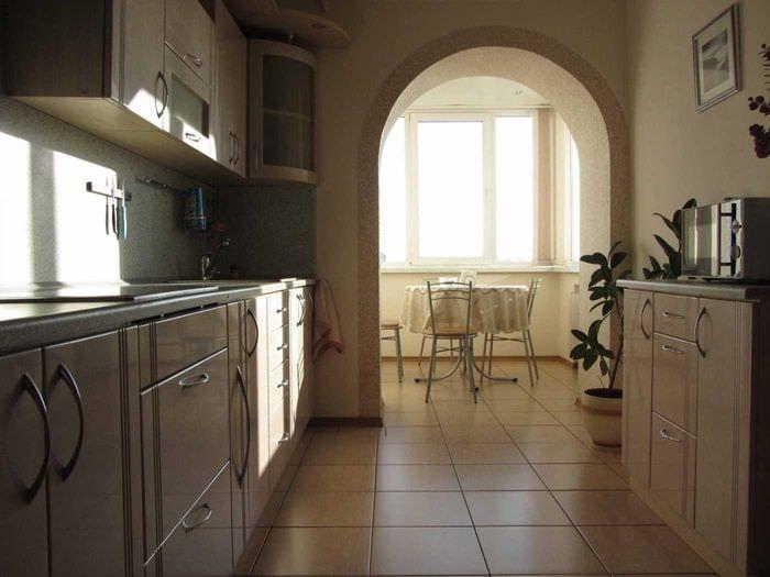 вариант красивого интерьера кухни 9 кв.м