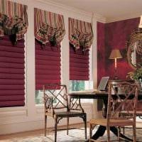 идея светлого стиля спальни с римскими шторами картинка