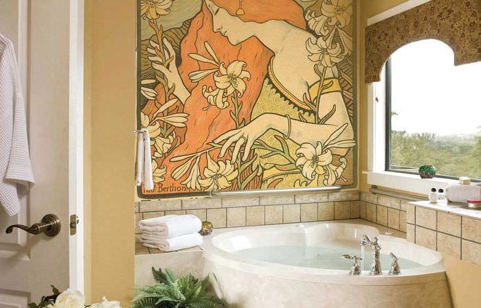 вариант яркого стиля квартиры с росписью стен