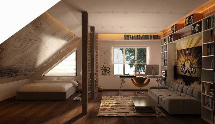 вариант яркого декора спальной комнаты для молодого человека