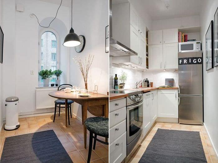 кухня с раскладной деревянной столешницей