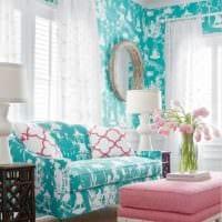 бирюзовый цвет в гостиной