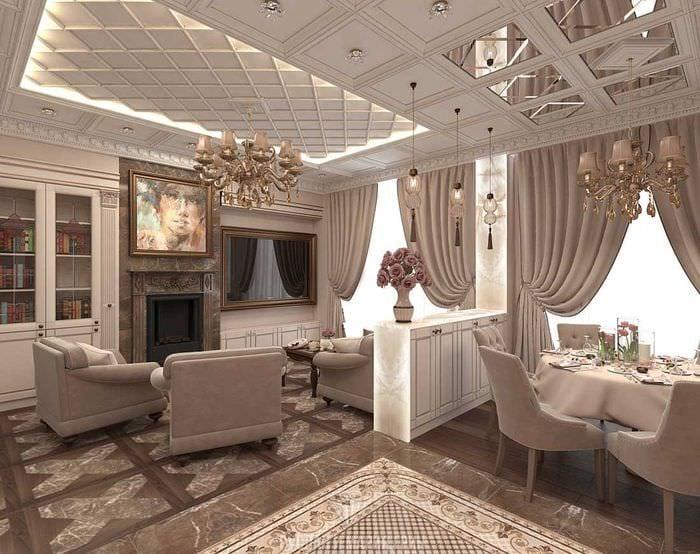 дворцовый стиль в интерьере столовой гостиной